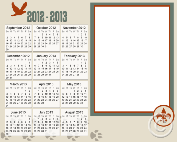 girl scout calendar template - rpl school boyscouts 8x10 calendar 2012 2013 png